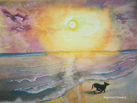 ORIGINAL 9x12 Watercolor MODERN DECOR DOG  PAIN... - $19.79