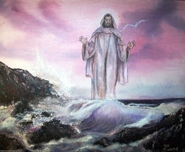 "Jesus 24""  Original oil painting on canvas boar... - $127.71"