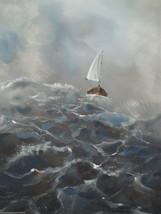"ORIGINAL 36"" ACRYLIC SEASCAPE / SAILBOAT CANVAS... - $236.61"