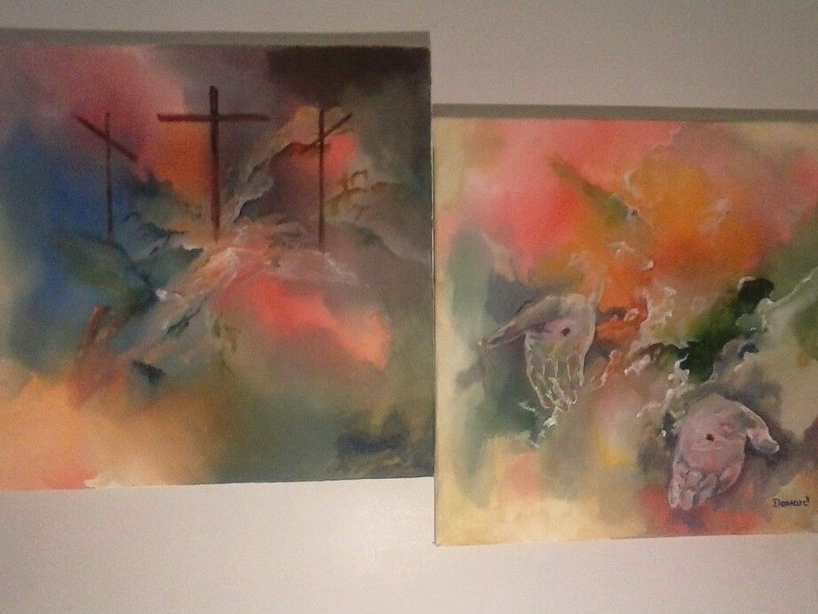 "Jesus Abstract 40"" Acrylic Canvas Painting ""Come Unto Me"" rdoward fine art"