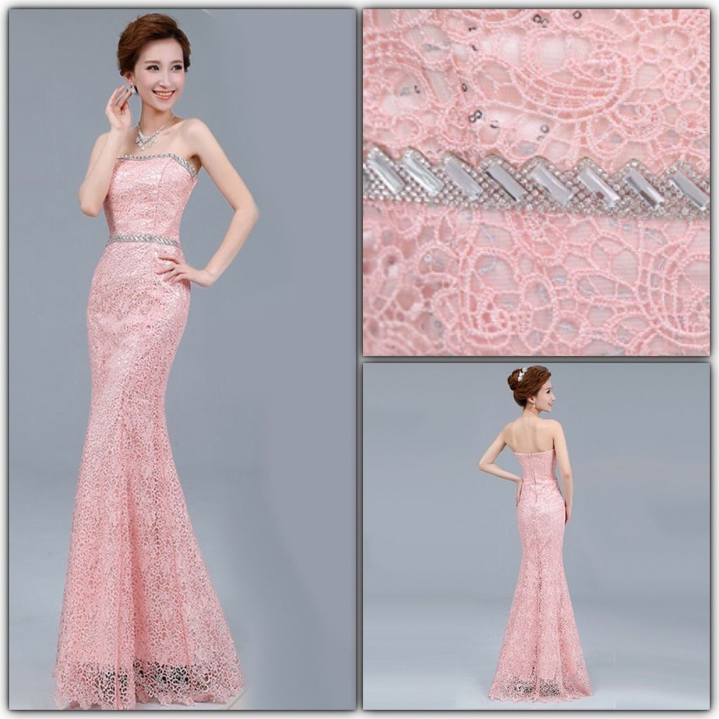 Pink Rhinestone Lace Mermaid Bridesmaid Wedding Party