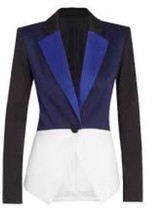 PETER PILOTTO Target Tuxedo Colorblock Blazer Jacket Blue Black White XS - $53.99