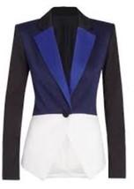 PETER PILOTTO Target Tuxedo Colorblock Blazer Jacket Blue Black White XS - $35.99