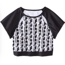Peter Pilotto Target Rash Guard Crop top  Black White Geometric Sz X Large - $17.98