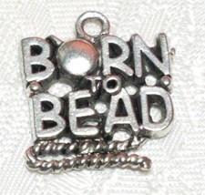 BORN TO BEAD FINE PEWTER PENDANT CHARM -17x20x2mm