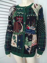 Talbots Petites Sweater PM Cardigan Cotton Ramie Hand Knit Wilderness Theme - $48.51