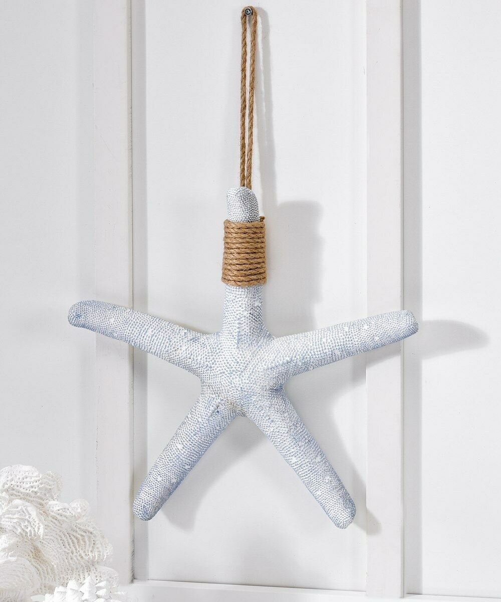 "15"" Starfish Hanging with Rope Decoration Beach Inspired Soft Blue & White Resin"