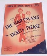 Darn It Baby That's Love 1950 Tickets Please Paul & Grace Hartman Sheet ... - $14.99