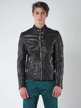 Diesel L-Ayme Men's Black Lambskin Leather Lined Biker Moto Jacket Coat ... - $427.99