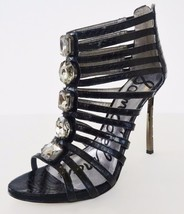NIB Sam Edelman Hampton Ankle Caged Sandal Shoes Sz 8.5 M Black Snakeski... - $89.05