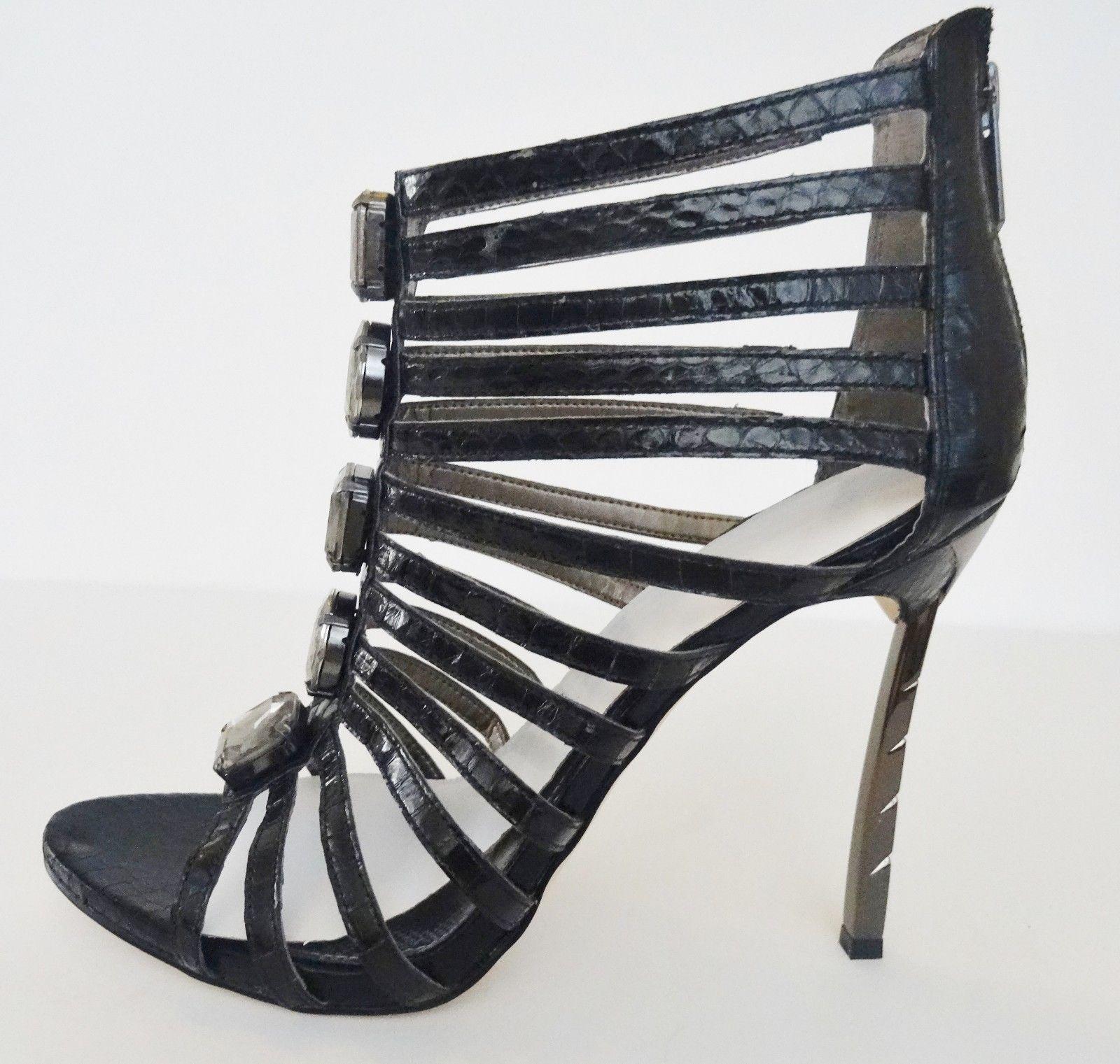 5687d43cf52ce NIB Sam Edelman Hampton Ankle Caged Sandal Shoes Sz 8.5 M Black Snakeskin   170