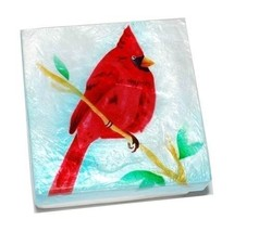 Kubla Crafts Capiz Shell Cardinal Bird Trinket Jewelry Gift Change Box - $9.99