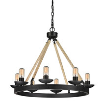 Restoration Industrial Hardware Round Iron & Rope Edison 8 Light Chandel... - $542.52