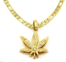 "Marijuana Charm Gold Plated Piece Pendant 24"" Figaro Chain Necklace Jewelry - $13.85"