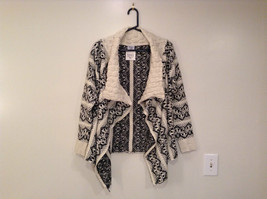 Cozy Black and White Long Sleeve Cardigan Sweater Wrap New Wide Collar