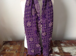 Pink and Purple Boho Scarf  Flowers and Geo Design See Measurements Below