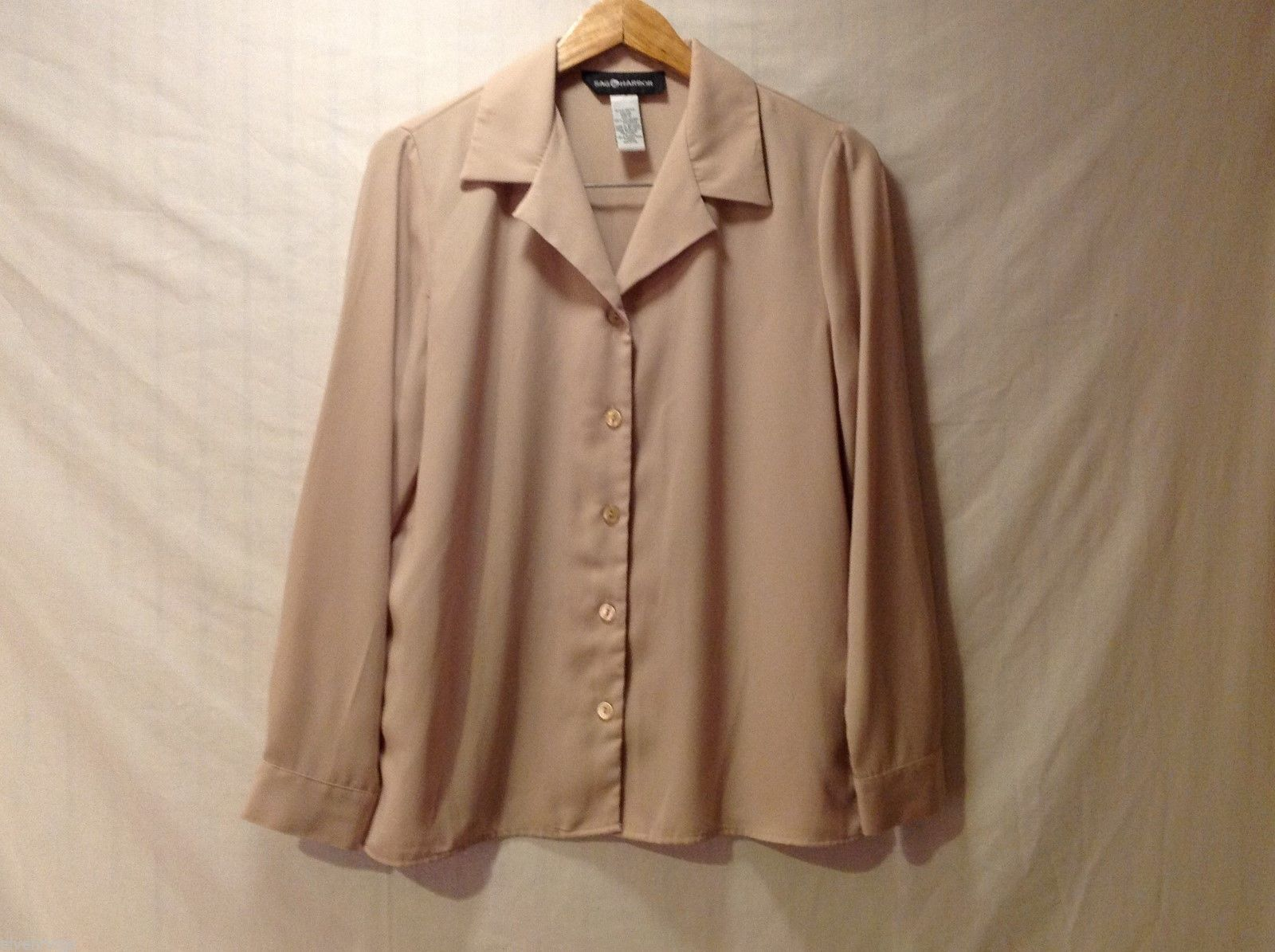 Sag Harbor womens Champagne Colored Long Sleeve Silk Blouse, Size 12