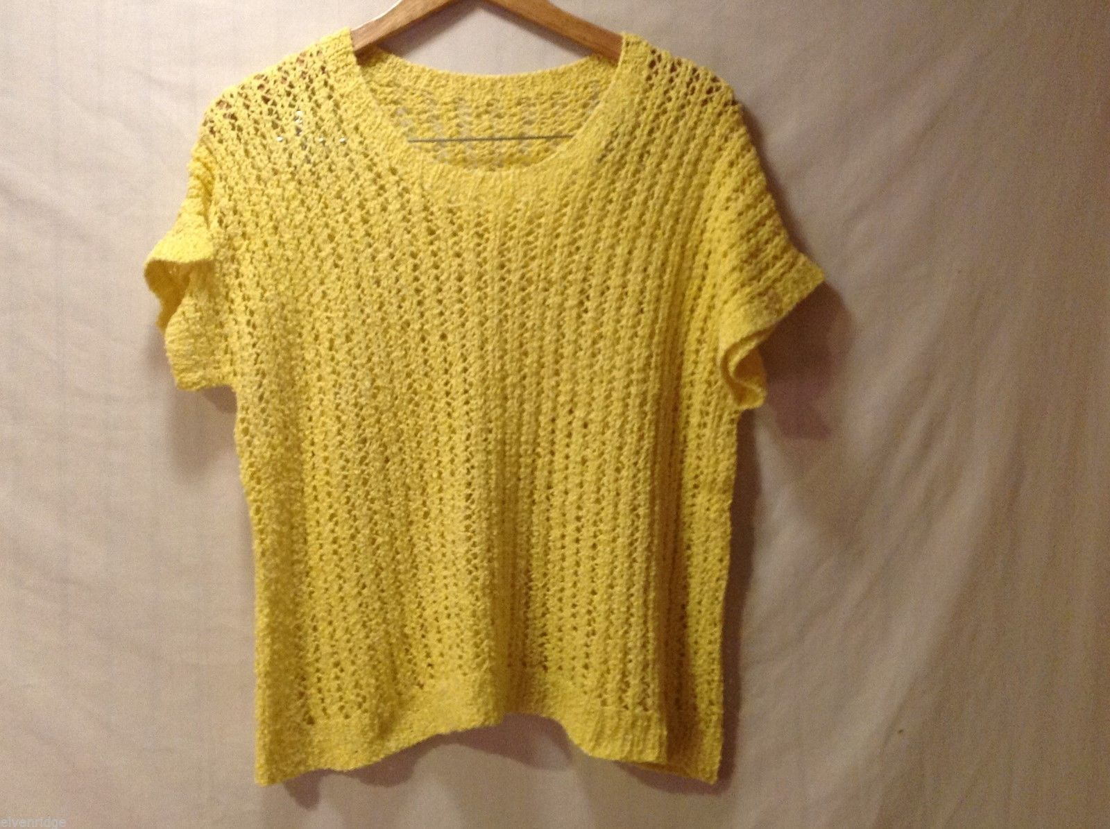 Womens Bright Yellow Short Sleeved Handmade Sweater, See measurements