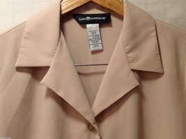 Sag Harbor womens Champagne Colored Long Sleeve Silk Blouse, Size 12 image 6