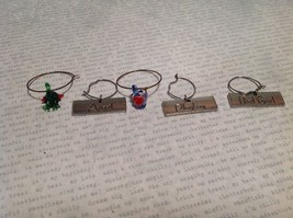 lot of 5 wine glass tags metal glass unique Charms