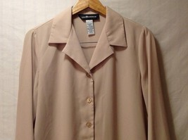 Sag Harbor womens Champagne Colored Long Sleeve Silk Blouse, Size 12 image 3