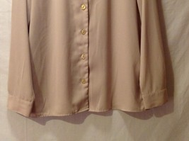 Sag Harbor womens Champagne Colored Long Sleeve Silk Blouse, Size 12 image 4