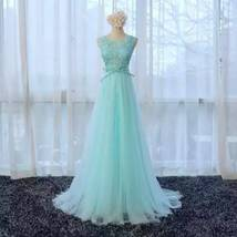 Rosyfancy Custom Candy Color Blue Lace And Tulle A-line Long Evening Dress - $195.00
