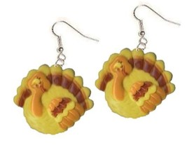 Huge TURKEY CUTE EARRINGS-Holiday Food Funky Charm Thanksgiving Costume ... - $5.39