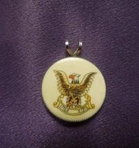 Sterling Silver Rim American Bicentennial Resin Necklace Pendant  - $26.73