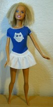 Mattel Blond Barbie Doll in white and blue dress hair was cut  - $5.94