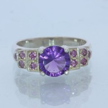 Purple Amethyst and Pink Sapphire Handmade Sterling Silver Ladies Ring size 8.25 - £88.35 GBP