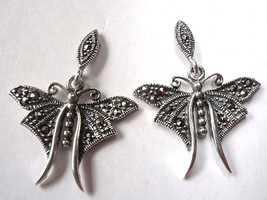 Marcasite Butterfly Stud Earrings Sterling Silver Corona Sun Jewelry - $18.60