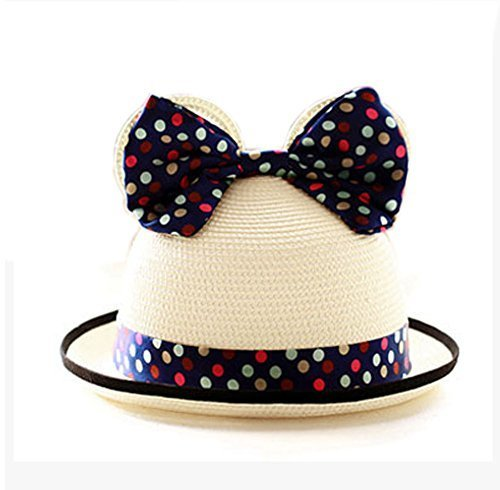 Summer Fashion Sun Hat For Kids With Bowknot Decor&Wave Point Pattern Beige