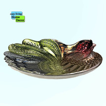 Accent Plus ROOSTER DECORATIVE Multicolor GLASS PLATE with Metal Stand - $44.50