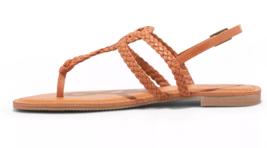NEW Womens Universal Thread Cognac Jana Braided Quarter Strap Flat Sandals Wide image 2