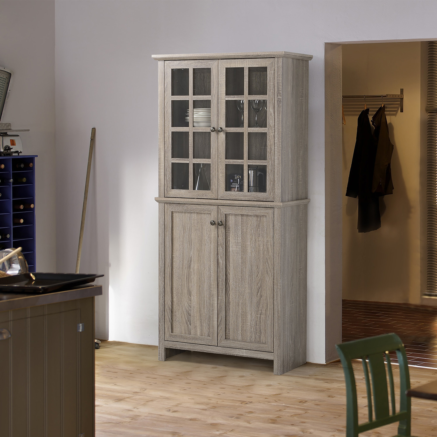 Storage Cabinet With 2 Glass Doors Kitchen Dining Room