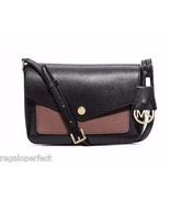 NWT MICHAEL KORS Greenwich Small Leather Crossbody Bag BLK/DROSE MSRP $198 - $151.05