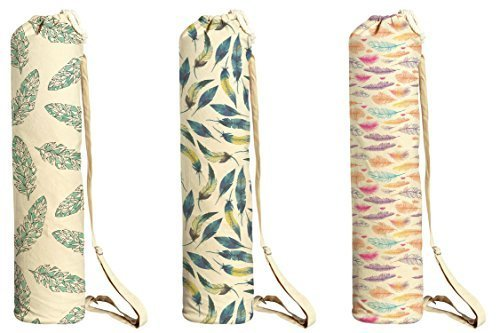 Vietsbay Sport Feather Pattern-5 Printed Canvas Yoga Mat Bags Carriers