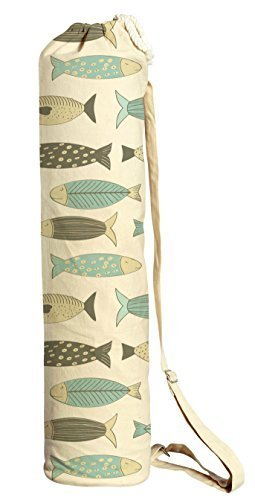 Vietsbay Sport Retro Fish Pattern Printed Canvas Yoga Mat Bags Carriers