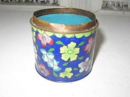 Vintage, Seascape,  Cloisonne on Copper Brush Pot or  Vanity Jar without Lid - $12.30