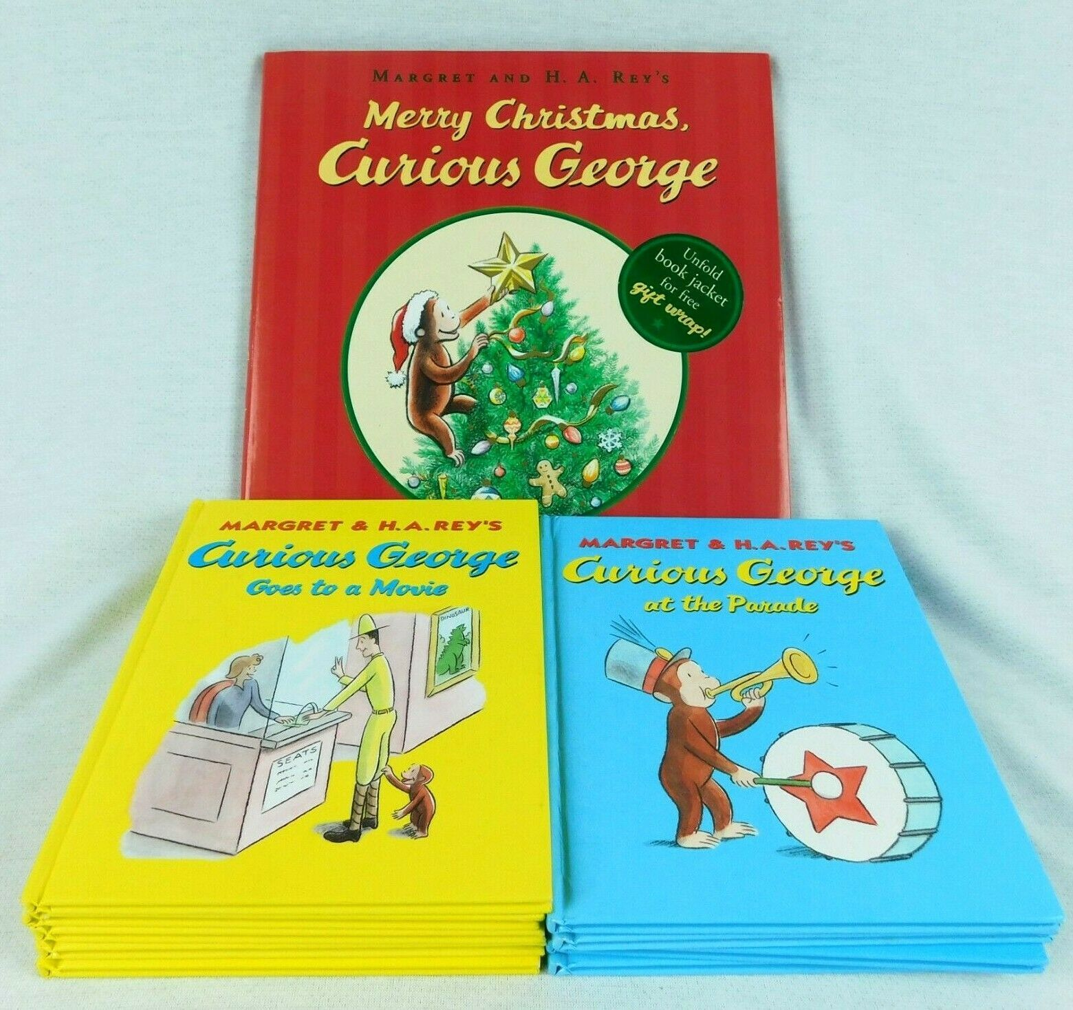 Primary image for Lot 10 Curious George Books Christmas Hardcover Margaret & H A Rey