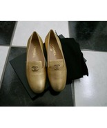 NIB 100% AUTH Chanel 15B G30637 Gold Leather Loafer Mocassins Sz 36.5 $825 - $493.02