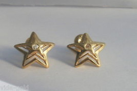 24k Gold overlay  Star Post Studd  earrings with cz Lifetime warranty - $9.85