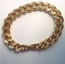 24k Gold overlay 10 MM Etched Curb Bracelet  Lifetime Guarantee Warranty 8 inch - $38.61