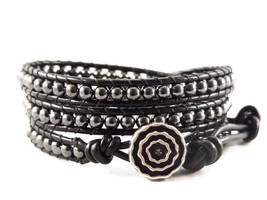 Wrap Bracelet Black Leather Hematite Gemstones Handmade - $39.95