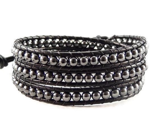 Wrap Bracelet Black Leather Hematite Gemstones Handmade