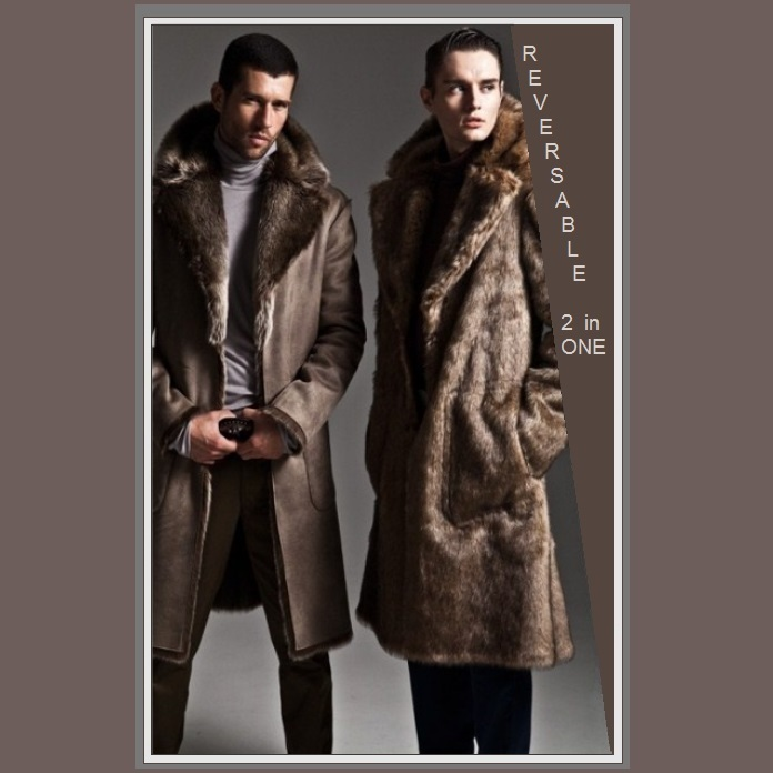 Primary image for Men's 2 in 1 Warm Full Pelt Long Luxury Mink Faux Fur Soft Leather Trench Coat