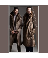 Men's 2 in 1 Warm Full Pelt Long Luxury Mink Faux Fur Soft Leather Trenc... - $260.09