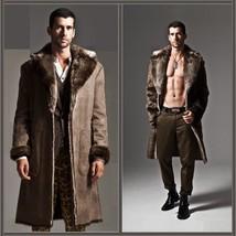 Men's 2 in 1 Warm Full Pelt Long Luxury Mink Faux Fur Soft Leather Trench Coat image 2