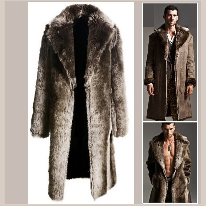Men's 2 in 1 Warm Full Pelt Long Luxury Mink Faux Fur Soft Leather Trench Coat